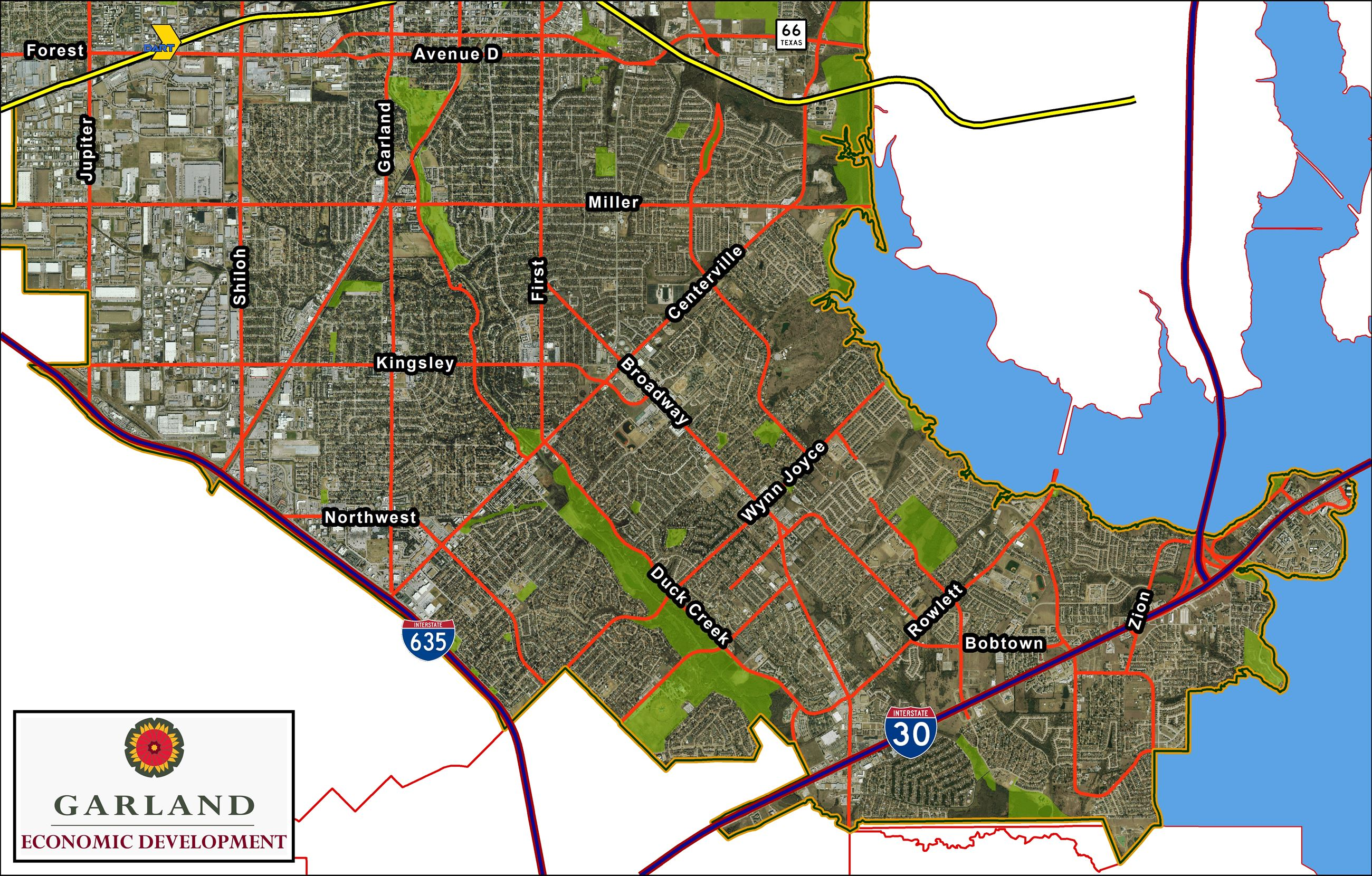 Map of South Garland